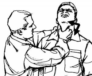 Figure 4. An image from the US Army Field Manual of Close Quarters Combat showing the trachea choke; the laryngeal handshake is a gentle version of this five-finger palpation of the larynx, using a side-to-side motion to confirm palpation of the thyroid lamina.