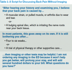 Table 2. A Script for Discussing Back Pain Without Imaging