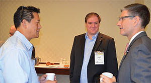 Congressmen and ACEP members Dr. Raul Ruiz (D-CA; left image, on right) and Dr. Joe Heck (R-NV; above right) talk with ACEP members during fundraisers held for them by NEMPAC and EMP PAC at LAC.