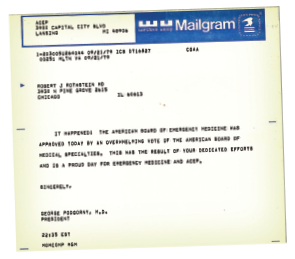 Figure 1. A Mailgram announcing the approval of the ABEM.