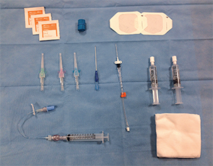 Figure 1. Supplies for ultrasound-guided peripheral venous access.