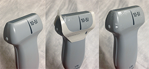 Figure 4. Place a waterproof transparent dressing over the ultrasound probe.