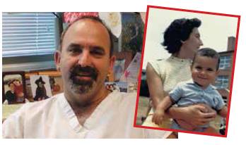 Dr. Nathan Kuppermann was recognized in March for his contributions to the care of kids. Here's a picture of Dr. Kupperman at work. And here's one when he was a kid, with his mom, Roza.