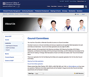 Selection Process for ACEP Council Committee Volunteers Begins