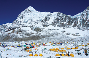 Everest Base Camp, shadowed by Pumori, the mountain where the avalanche originated, taken a week before the earthquake.