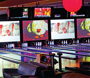 Bowling lanes at Lucky Strike.