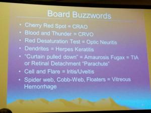 Eye exam buzzwords from Dr. Knight's talk.
