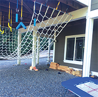 The trampoline and net from Dr. Stankus's home training course, which she designed and built.