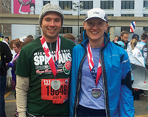 Dr. Betcher (left) and Dr. Majkrzak after completing the Detroit Half Marathon.