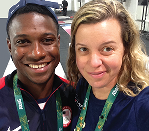 Daryl Homer (left), winner of the silver medal in the individual men's sabre at the Rio Olympics, with Ann Marsh-Senic