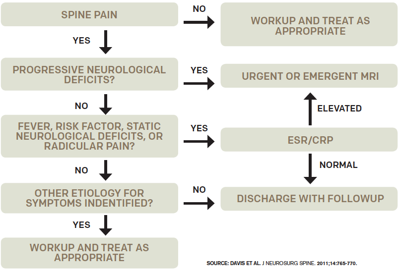 Figure 1: Decision guideline for diagnosing spinal epidural abscess.