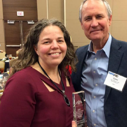 Nancy Calaway (left) with ACEP Executive  Director Dean Wilkerson at the DFWAE meeting.