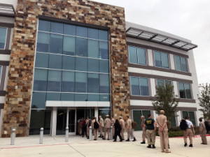 Disaster medical assistance teams arrive at ACEP's headquarters for training.