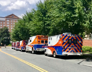 UVAHS ambulances staged adjacent to the medical center and ready to respond to emergency calls.