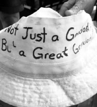 Figure 4: One proud grandfather who visited the mobile medical unit kept this hat with him during evacuation.