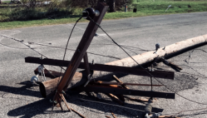 Figure 9: Broken telephone pole.