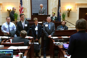 From left: John Dayton, MD, FACEP, Utah ACEP President; Matthew Hollifield, MD, and Kathleen Lawliss, MD, FACEP, Utah ACEP Board members; and James Antinori, MD, FACEP, past Utah ACEP President, on the floor of the Utah State Senate.