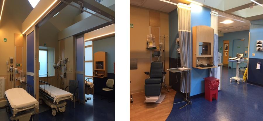 Figure 2: Hasbro Children's Hospital's rapid treatment unit rooms.