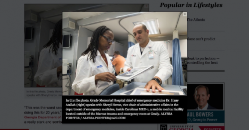 Figure 1: The Atlanta Journal Constitution website showing the image of Dr. Hany Atallah and Dr. Sheryl Heron. Note that Dr. Heron was not listed as Dr.