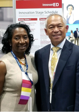 Dr. Andrea Green (left) and Dr. Bernard Lopez at ACEP18's innovatED.