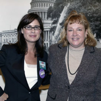 "Ms. Gore with ""ER"" cast member Maura Tierney in the U.S. Capitol during Rally at the Capitol."