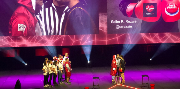 Two emergency medicine experts engage in a friendly evidence-based medicine debate at SMACC in March 2019. The final SMACC exemplified both cutting-edge critical care and the unique style that made the conference so popular.