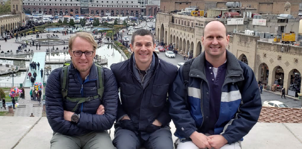 Scenic view of the city market in Erbil. Left to right: Dr. Greg Jacobs; John Miller; and Dr. Balentine.