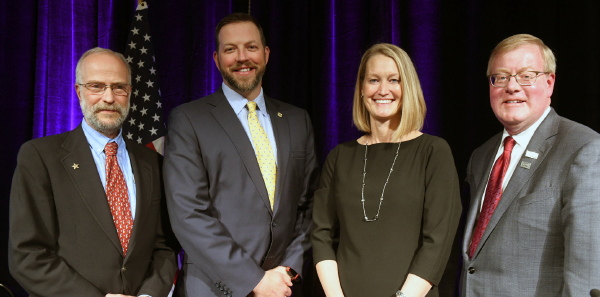 Incumbent member of the ACEP Board of Directors, Gillian R. Schmitz, MD, FACEP, (Government Services; pictured on the center right) was re-elected for another three-year term. The Council also elected Jeffrey M. Goodloe, MD, FACEP of Oklahoma (pictured on the right); Gabor D. Kelen, MD, FACEP of Maryland (pictured on the left); and Ryan A. Stanton, MD, FACEP, of Kentucky (pictured on the center left) to seats on the ACEP Board of Directors.