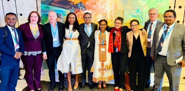 The team that worked on the resolution from World Health Organization and Ethiopia. Dr. Tsion Firew is fourth from the left.