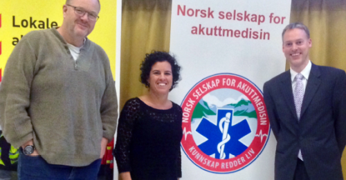 From Left: Kåre Løvstakken, MD, project leader at AHUS; Gayle Galletta, MD, FACEP; and Lars Petter Bjørnsen, MD, FACEP, founder of Norwegian Society of Emergency Medicine, at the Society's fourth national symposium on emergency medicine, November 2014, Trondheim, Norway.