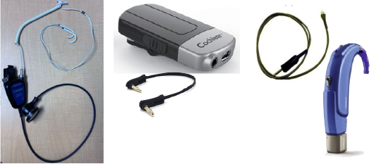 Figure 6 (LEFT): Direct audio input from stethoscope to hearing aid. Figure 7 (ABOVE): A hearing aid telecoil receiving an induction signal. Figure 8 (RIGHT): A wireless stethoscope-to–hearing aid gateway device.