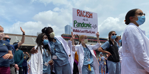 Physicians from the University of Pennsylvania participate in a protest on June 7, 2020. Felipe Teran, MD, FACEP (@FTeranMD)