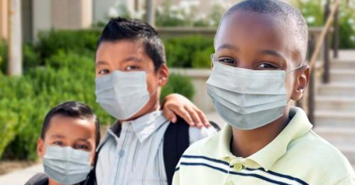 Children wearing face masks.