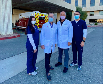 Tennity ED leadership team (from left): ED nursing director Tasha Anderson, RN; department chairman and operations director David Romness, MD; medical director Euthym Kontaxis, MD; and assistant nursing director Joshua Hickman, RN.