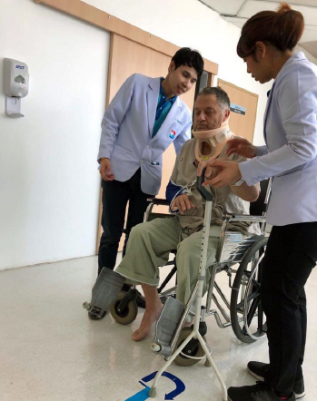 Dr. Wernecke about a month into his recovery, learning to walk and balance after an extremity fracture and overall debility.
