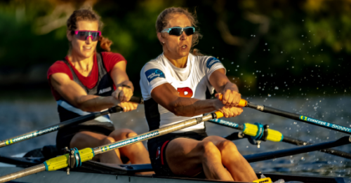 """Dr. Genevra """"Gevvie"""" Stone and double sculls partner Kristi Wagner train together in summer 2021."""
